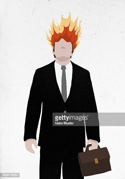 Businessman's head on fire against white background