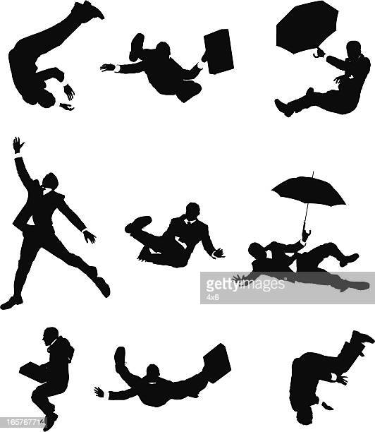 businessmen falling down - multiple image stock illustrations, clip art, cartoons, & icons