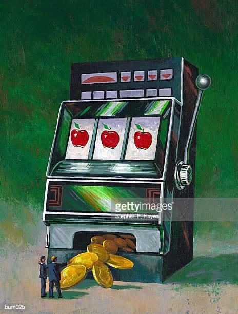 businessmen hitting jackpot - jackpot stock illustrations, clip art, cartoons, & icons