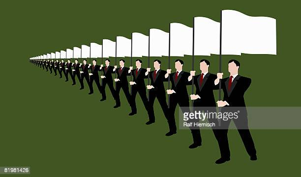 businessmen holding flags and standing in a row - part of a series stock illustrations