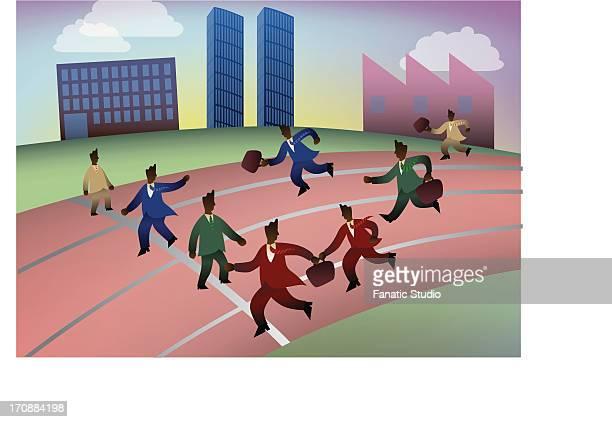 stockillustraties, clipart, cartoons en iconen met businessmen in relay race with briefcases - match sport