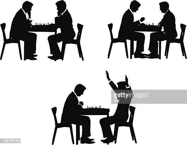 ilustraciones, imágenes clip art, dibujos animados e iconos de stock de empresarios intellectually desafiante sí jugando al ajedrez - torre pieza de ajedrez