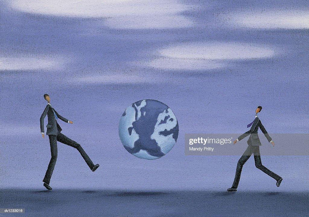 Businessmen Kicking the Earth : Stock Illustration