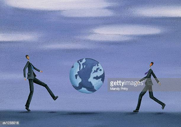 businessmen kicking the earth - mandy pritty stock illustrations