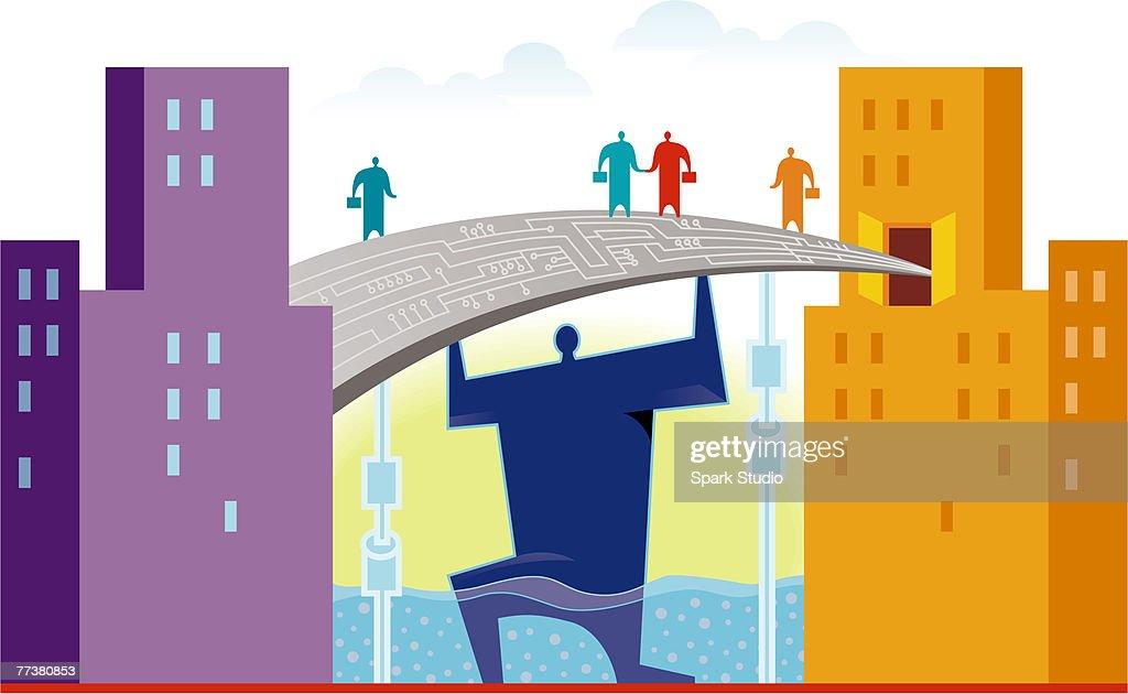 Businessmen meeting on a bridge : Illustration