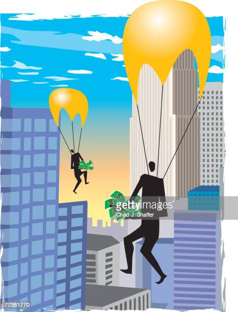 a businessmen parachuting with money in their hands - cash flow stock illustrations, clip art, cartoons, & icons
