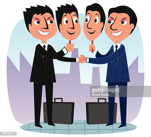 businessmen shaking hand with faking identity - office politics stock illustrations, clip art, cartoons, & icons