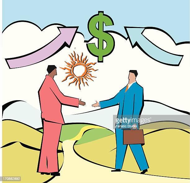 businessmen shaking hands in front of dollar sign - 証書点のイラスト素材/クリップアート素材/マンガ素材/アイコン素材