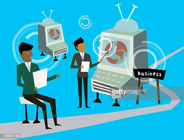 businessmen teaching other businessman - other stock illustrations, clip art, cartoons, & icons