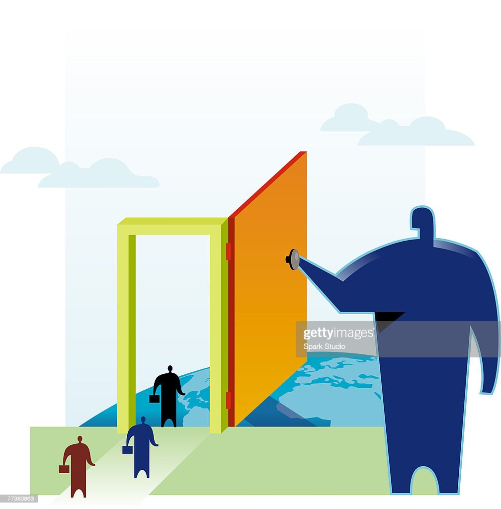 Businessmen walking through the door of opportunity being held open by another huge man : Illustration