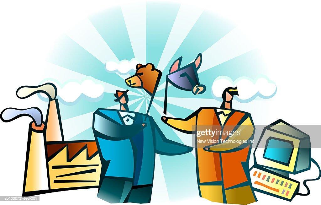 Businessmen With Stock Market Symbols Stock Illustration Getty Images