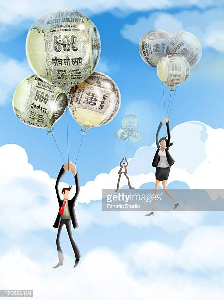 businesspeople flying with inflation balloons - inflation stock illustrations