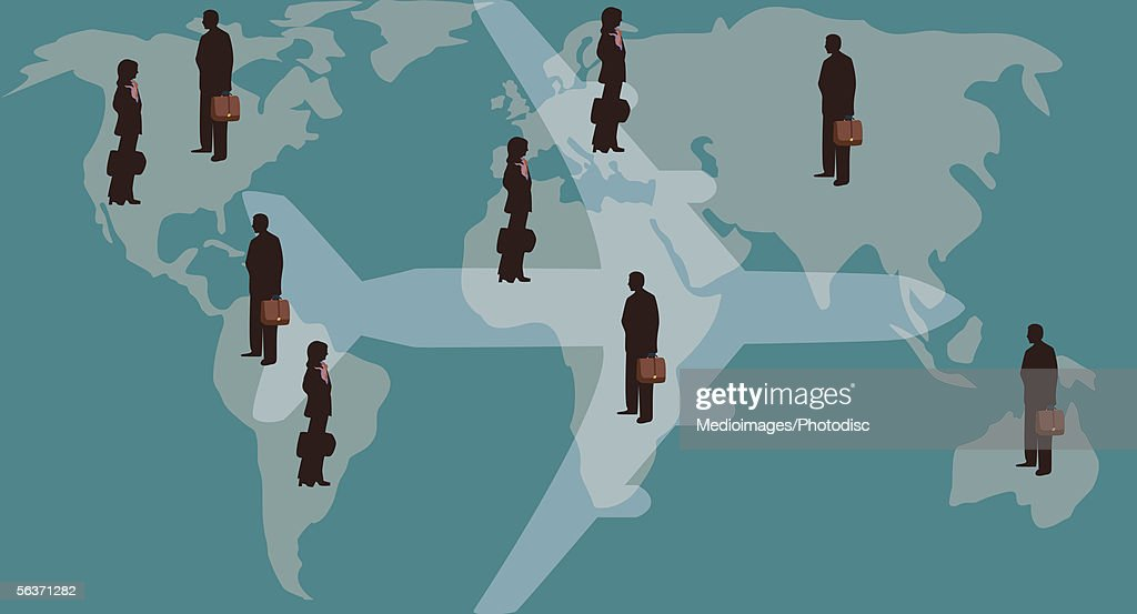 Businesspeople holding briefcases with world map in background : stock illustration