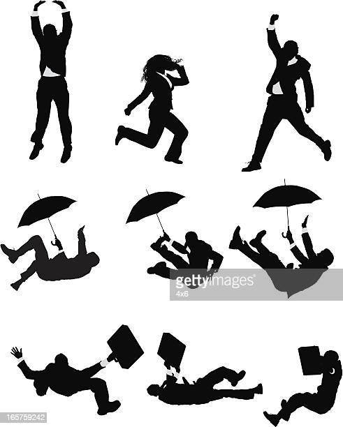businesspeople jumping and falling - multiple image stock illustrations, clip art, cartoons, & icons