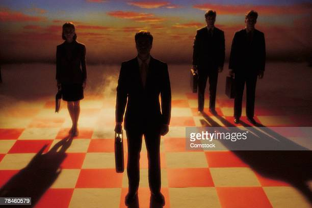 ilustraciones, imágenes clip art, dibujos animados e iconos de stock de businesspeople on chessboard - tablero de ajedrez