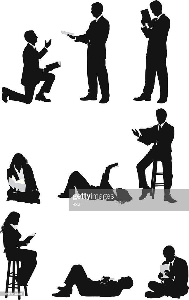 Businesspeople reading books : stock illustration
