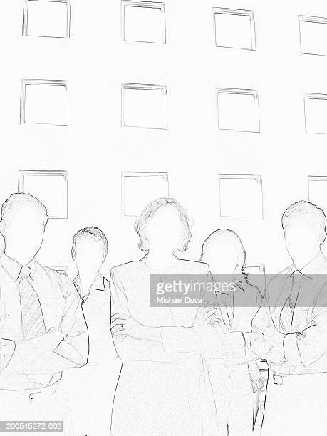 businesspeople standing with arms crossed - digital enhancement stock illustrations