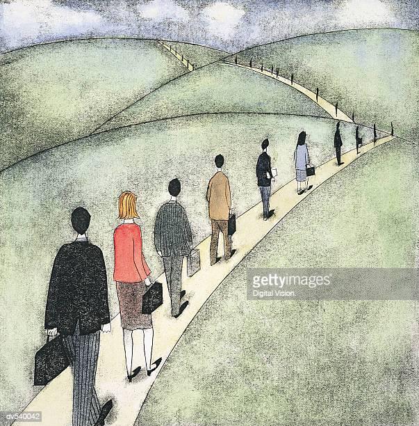 Businesspeople walking in a line
