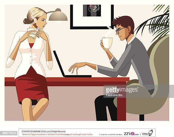 Businesswoman and Businessman Using Laptop, having coffee