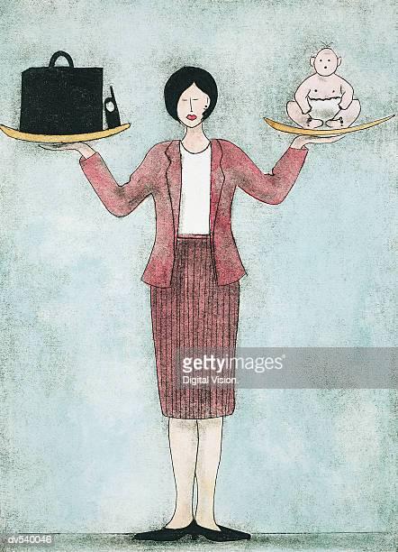 ilustraciones, imágenes clip art, dibujos animados e iconos de stock de businesswoman balancing work and family - madre trabajadora