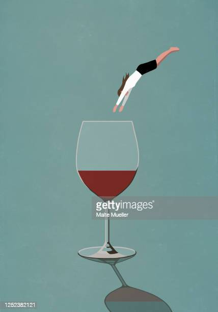 businesswoman diving into large glass of wine - leisure activity stock illustrations