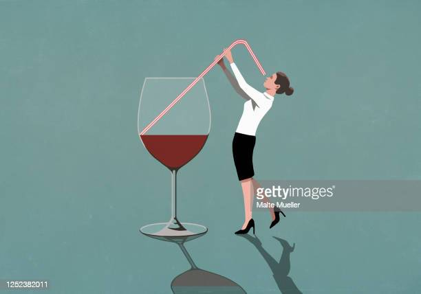 businesswoman drinking from large wine glass with straw - leisure activity stock illustrations