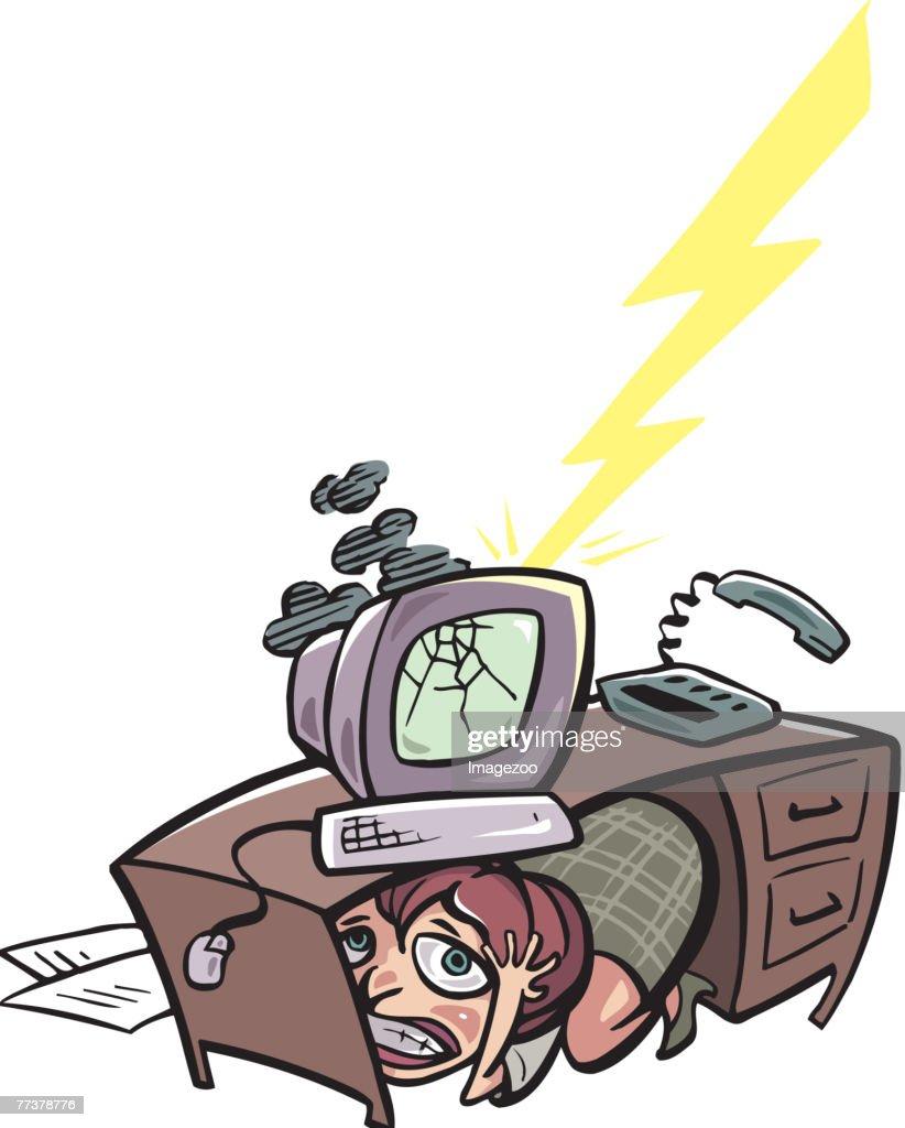 businesswoman hiding under desk : stock illustration