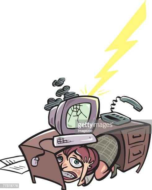businesswoman hiding under desk - bad luck stock illustrations, clip art, cartoons, & icons