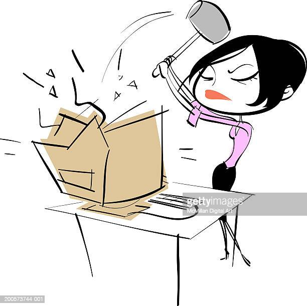 illustrations, cliparts, dessins animés et icônes de businesswoman hitting computer with sledgehammer - impatient
