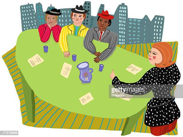 businesswoman holding a meeting