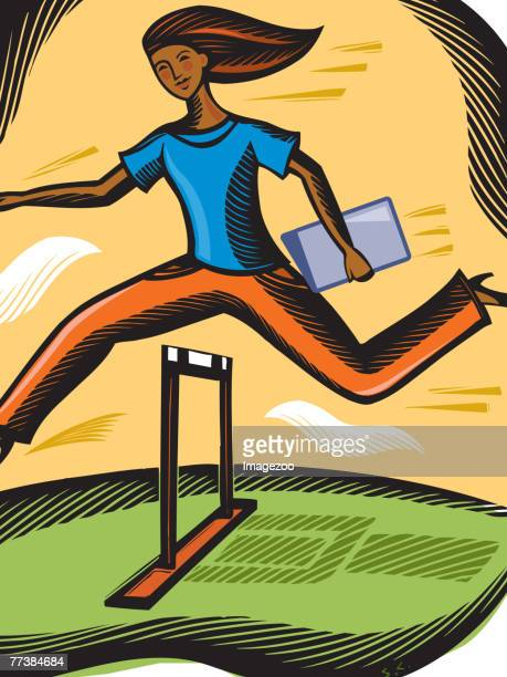 Businesswoman leaping over a hurdle