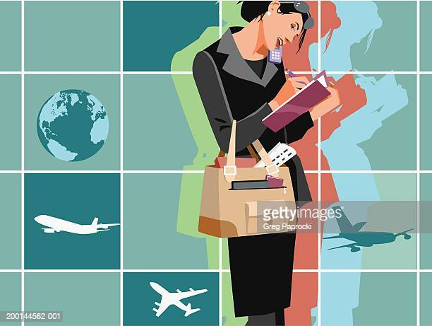 Businesswoman making travel arrangements