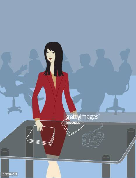 Businesswoman preparing for a board meeting