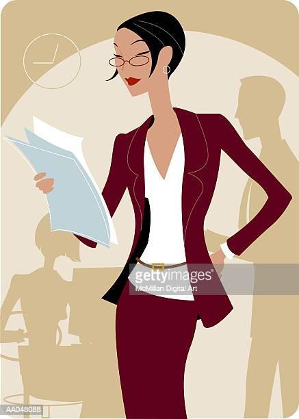 ilustraciones, imágenes clip art, dibujos animados e iconos de stock de businesswoman reading document - mujeres de mediana edad