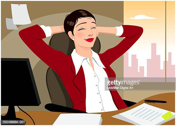 businesswoman sitting with hands behind head, eyes closed - corporate business stock illustrations
