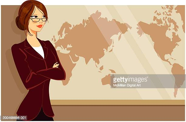 businesswoman standing in front of world map, arms crossed - updo stock illustrations, clip art, cartoons, & icons