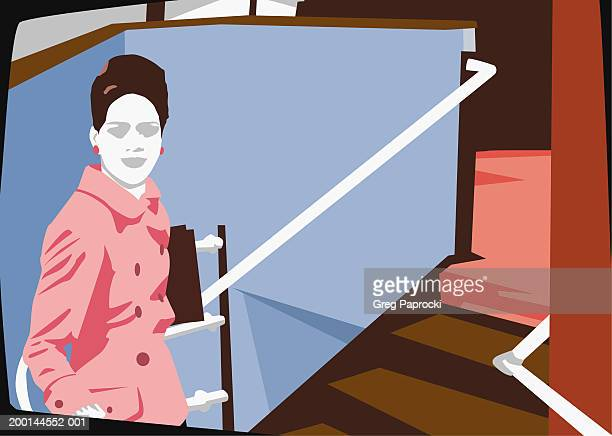 businesswoman standing in stairwell - updo stock illustrations, clip art, cartoons, & icons