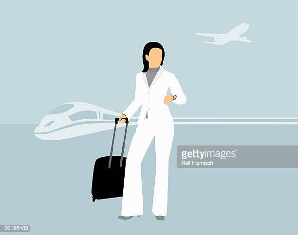 A businesswoman standing with a suitcase in front of a train and an airplane
