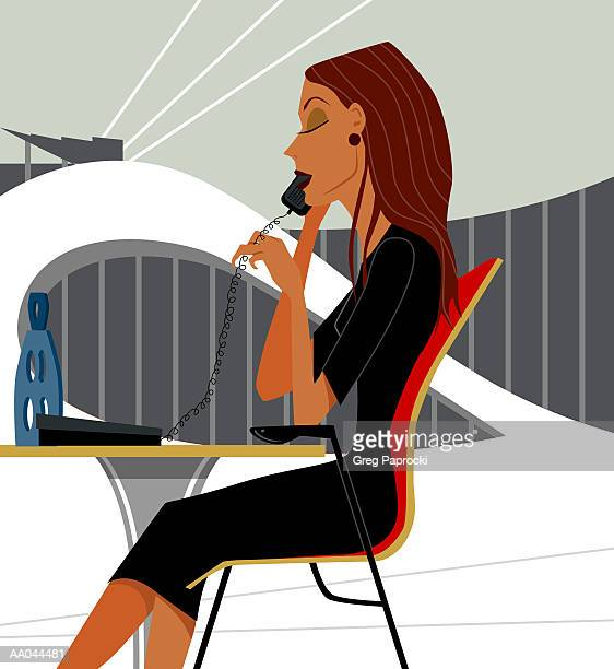 businesswoman talking on telephone, side view - phone cord stock illustrations, clip art, cartoons, & icons