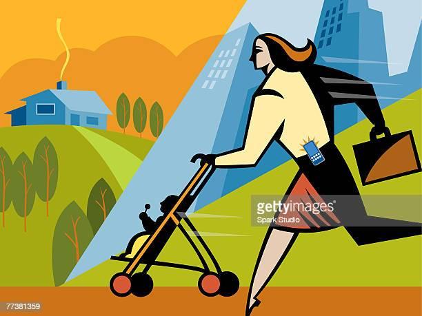 ilustraciones, imágenes clip art, dibujos animados e iconos de stock de a businesswoman walking with her daughter in a stroller - madre trabajadora