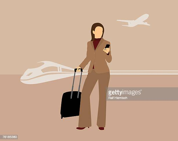 a businesswoman with a mobile phone and a suitcase standing in front of a train and an airplane - ファーストクラス点のイラスト素材/クリップアート素材/マンガ素材/アイコン素材