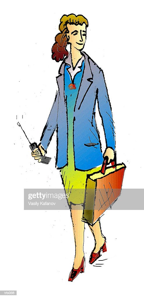 Businesswoman with Cell Phone : Stock Illustration