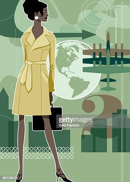 businesswoman with travel graphics in background - updo stock illustrations, clip art, cartoons, & icons