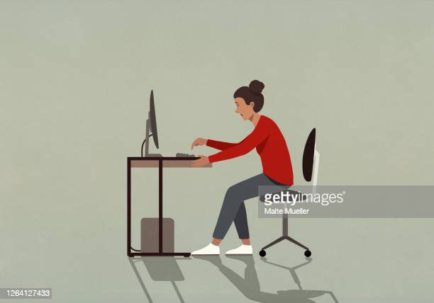 businesswoman working at computer - technology stock illustrations