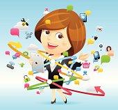 Businesswoman,Tablet PC,Cloud computing concept