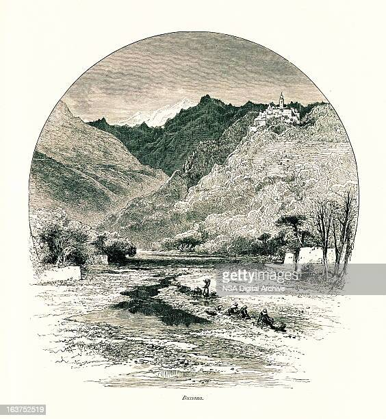 bussana vecchia, italy i antique european illustrations - village stock illustrations
