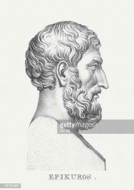 Bust illustration of Epicurus, a Greek philosopher, lithograph, published 1830