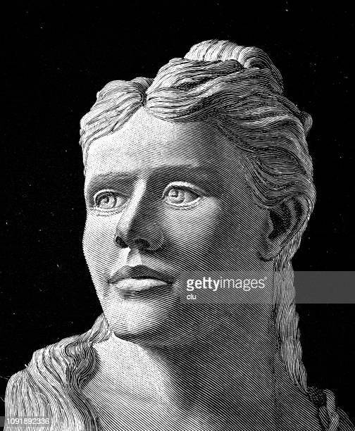 bust of a woman from the stone age - paleolitico stock illustrations