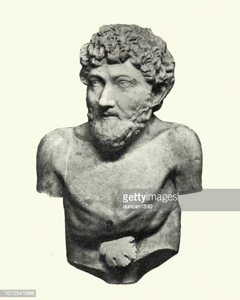 bust of aesop ancient greek fabulist and storyteller - classical greek style stock illustrations