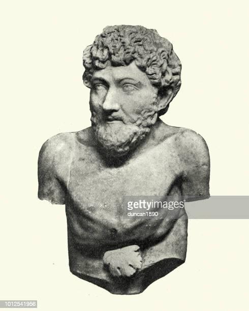 bust of aesop ancient greek fabulist and storyteller - greek statue stock illustrations